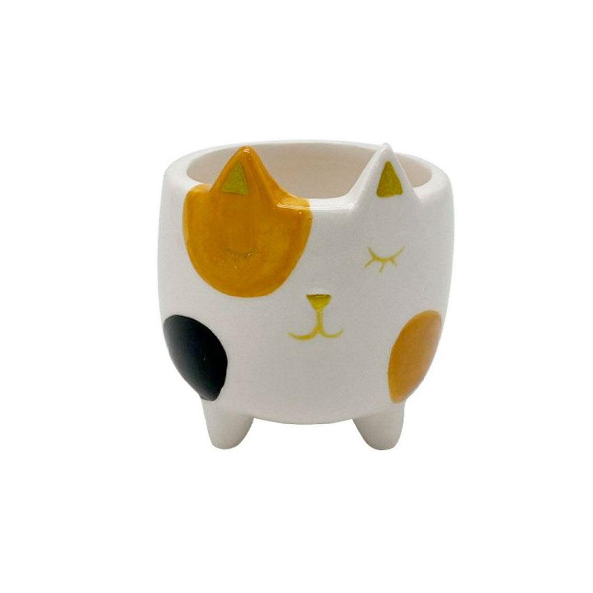 Cachepot Vaso Decorativo de Cerâmica Gato Malhado - Presente Super