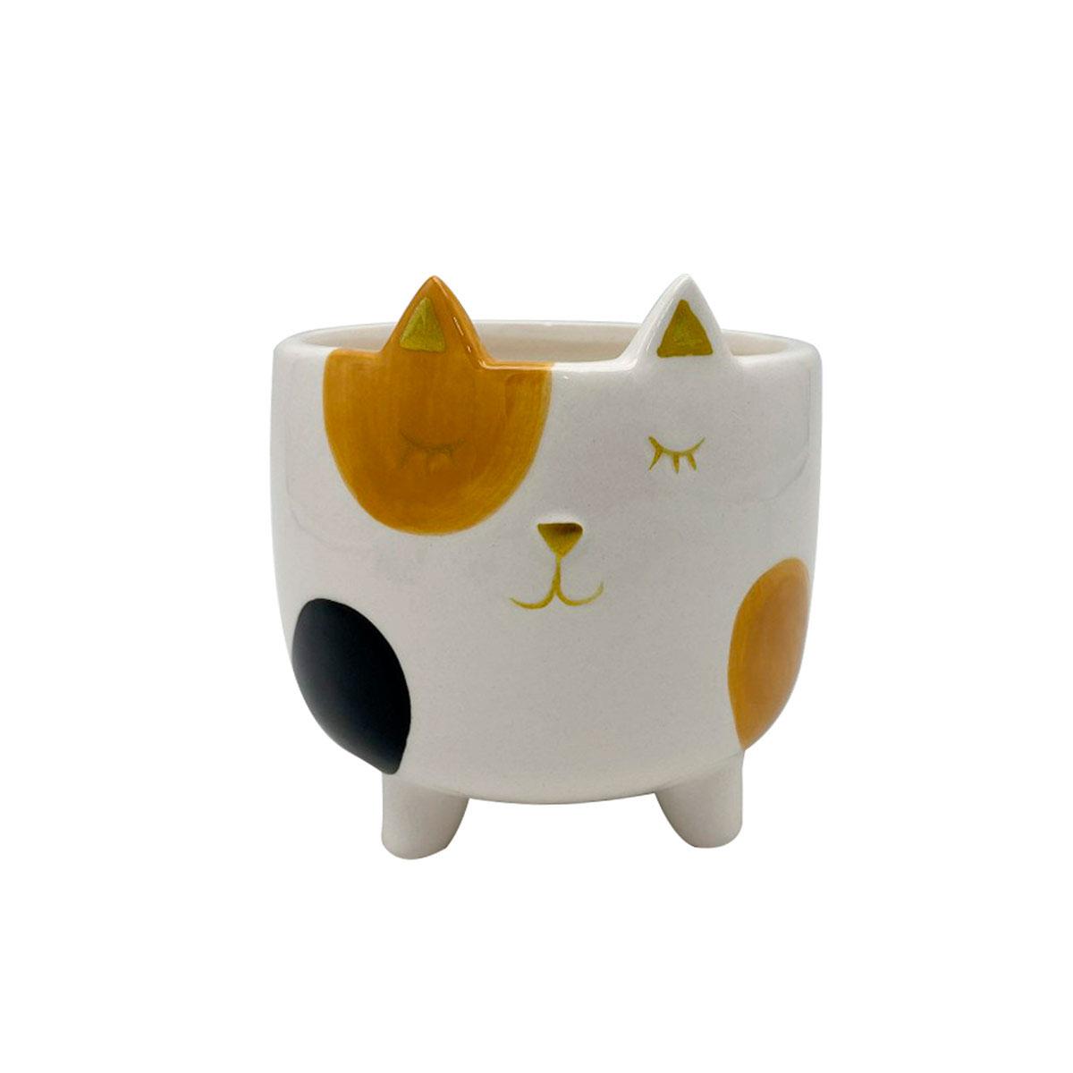 Cachepot Vaso Decorativo de Cerâmica Gato Malhado Grande - Presente Super