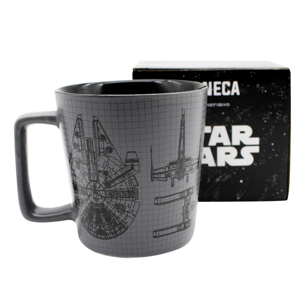 Caneca Alça Quadrada 400 ml Millenium Falcon Star Wars - Presente Super