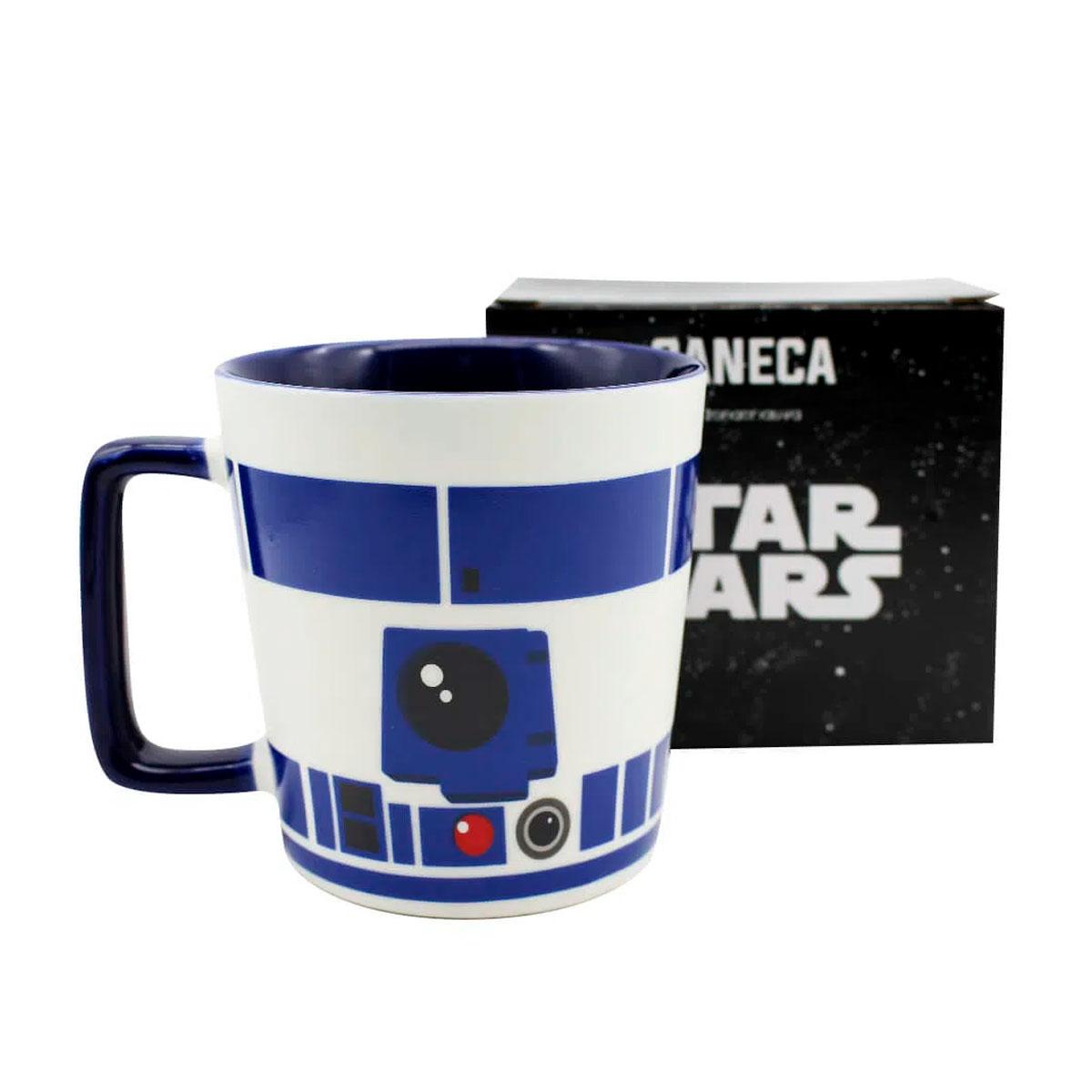 Caneca Alça Quadrada 400 ml R2D2 Star Wars - Presente Super