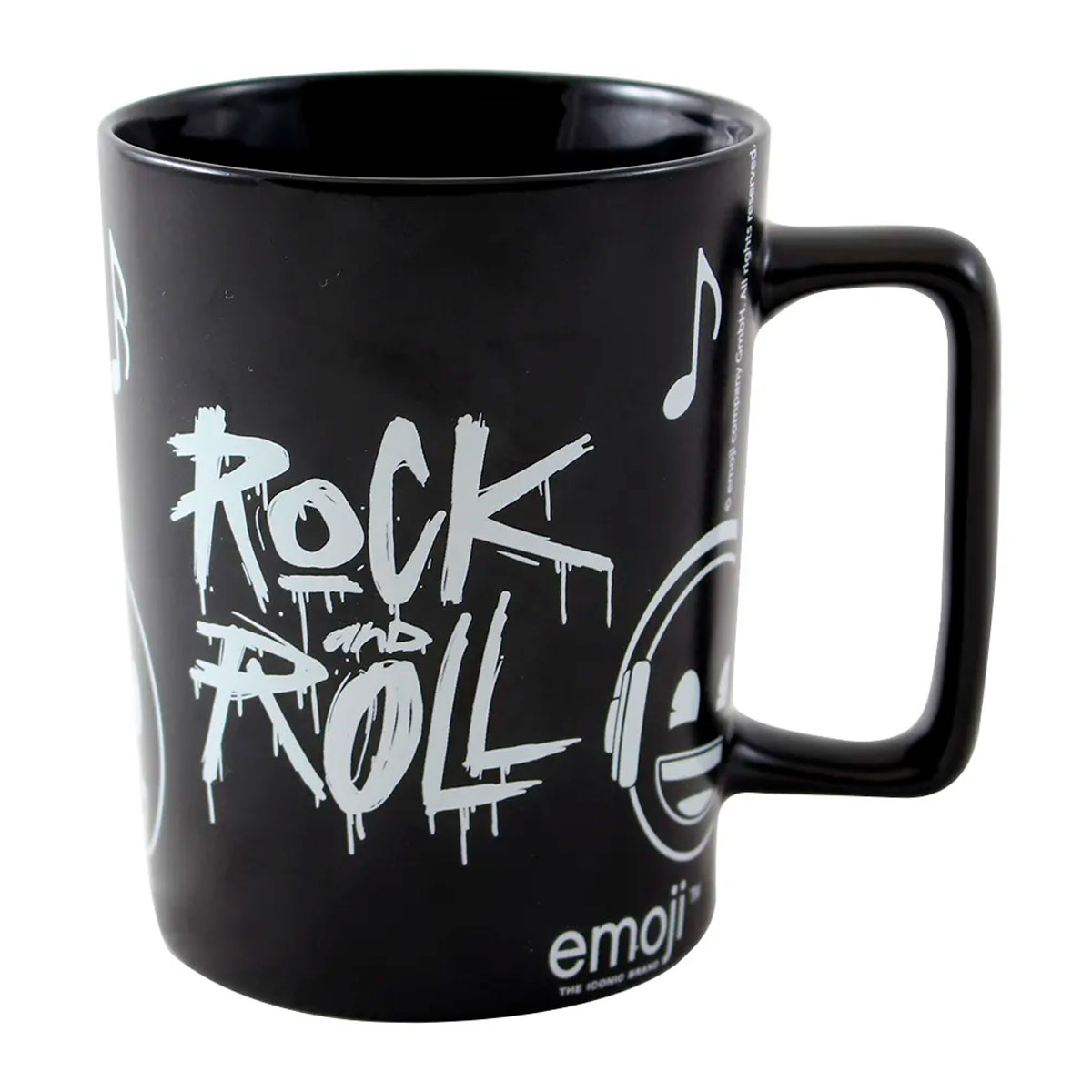 Caneca Alça Quadrada 500 ml Emoji Rock and Roll - Presente Super