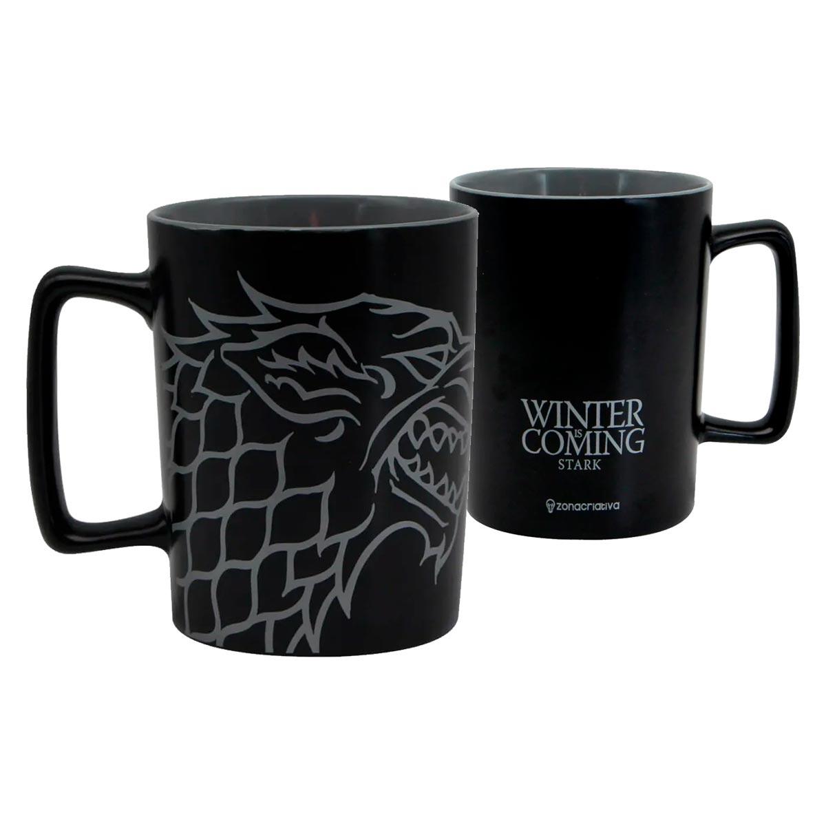 Caneca Alça Quadrada 500 ml Stark Game Of Thrones - Presente Super