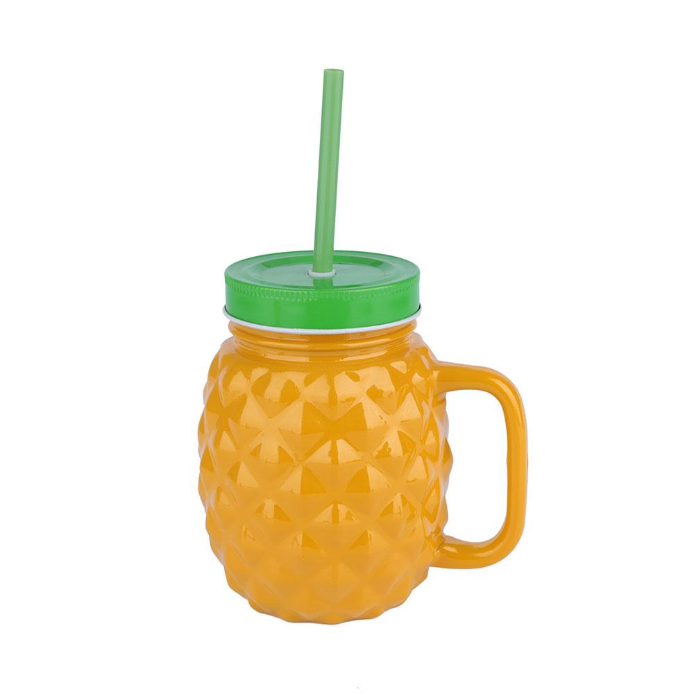 Caneca com Canudo Abacaxi Pineapple de Vidro