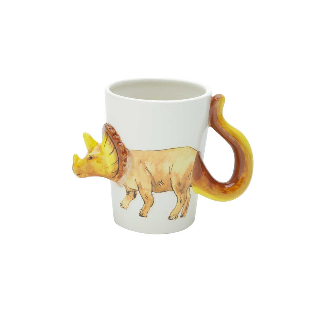 Caneca de Cerâmica Formato Dinossauro Triceratops 380 ml