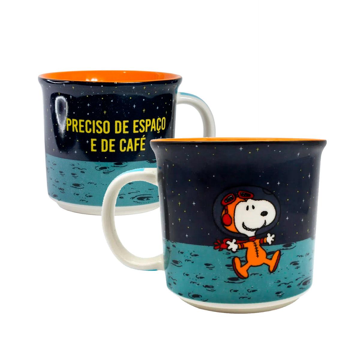 Caneca de Cerâmica Snoopy Space 350 ml - Presente Super