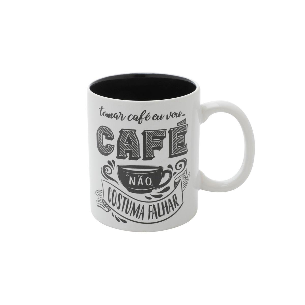 Caneca Porcelana Café Não Costuma Falhar - Presente Super
