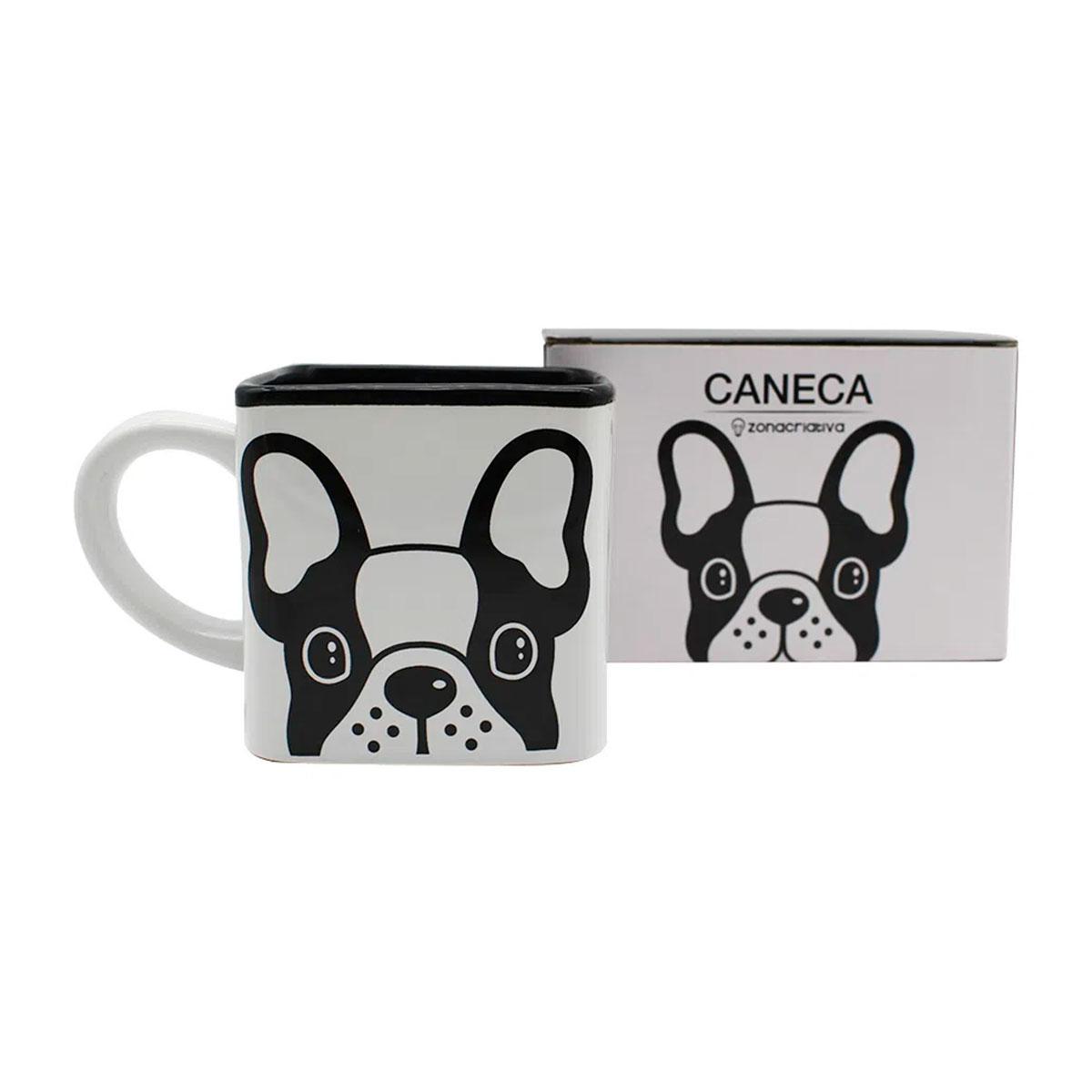 Caneca Quadrada Cubo Bulldog - Presente Super