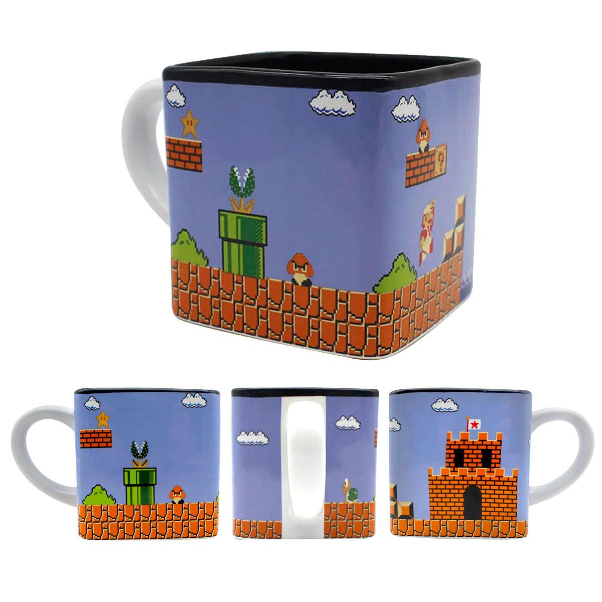 Caneca Quadrada Cubo Mario Fases Pixel - Presente Super