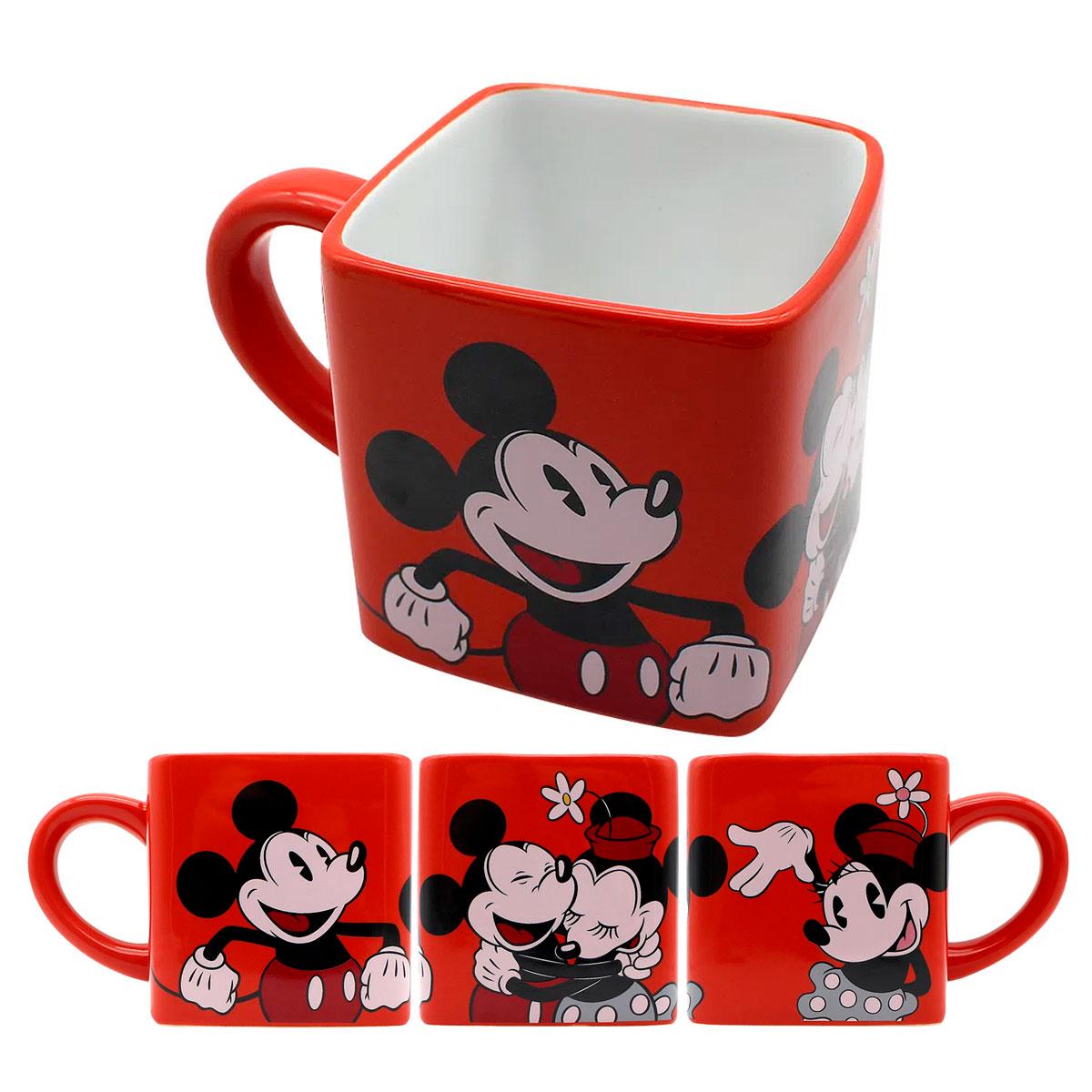 Caneca Quadrada Cubo Mickey e Minnie - Presente Super