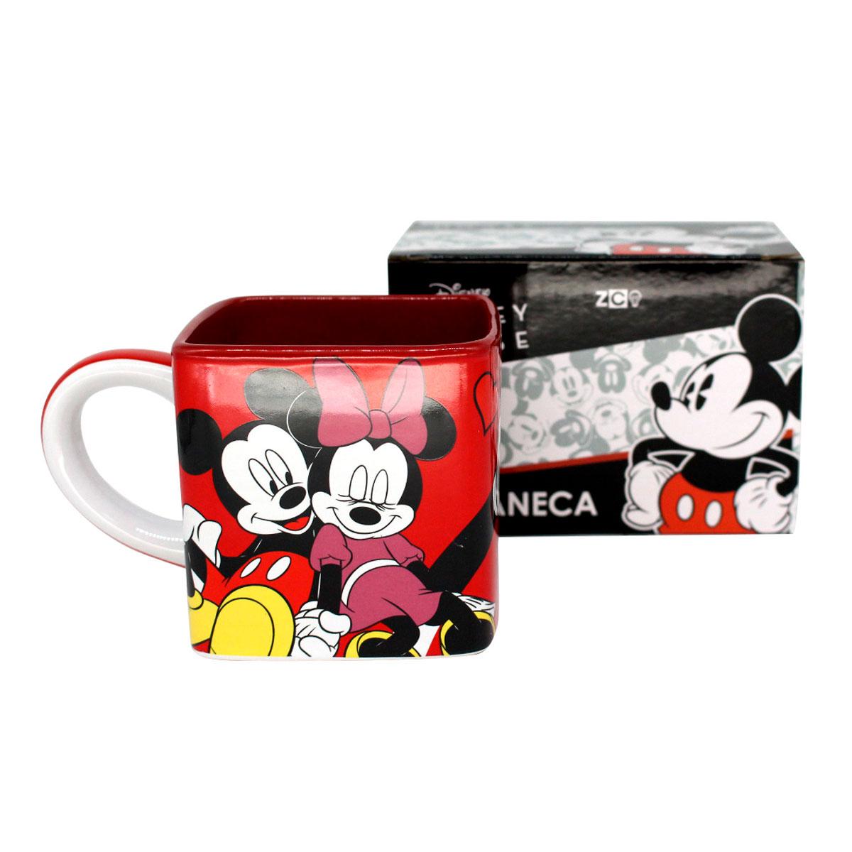 Caneca Quadrada Cubo Mickey e Minnie Namorados - Presente Super