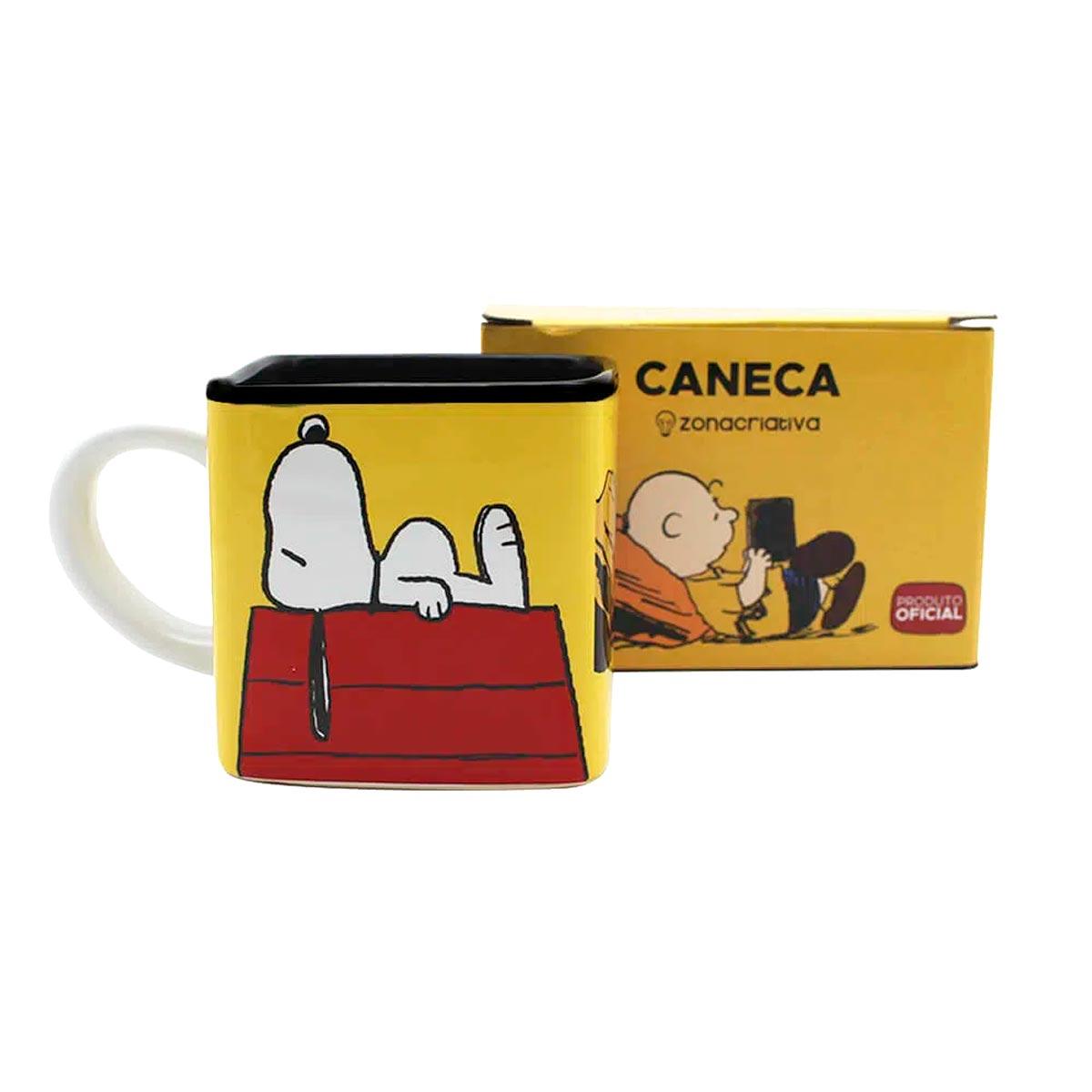Caneca Quadrada Cubo Turma Snoopy - Presente Super