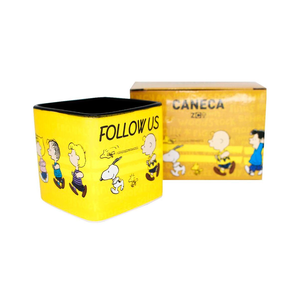 Caneca Quadrada Cubo Turma Snoopy Follow Us - Presente Super
