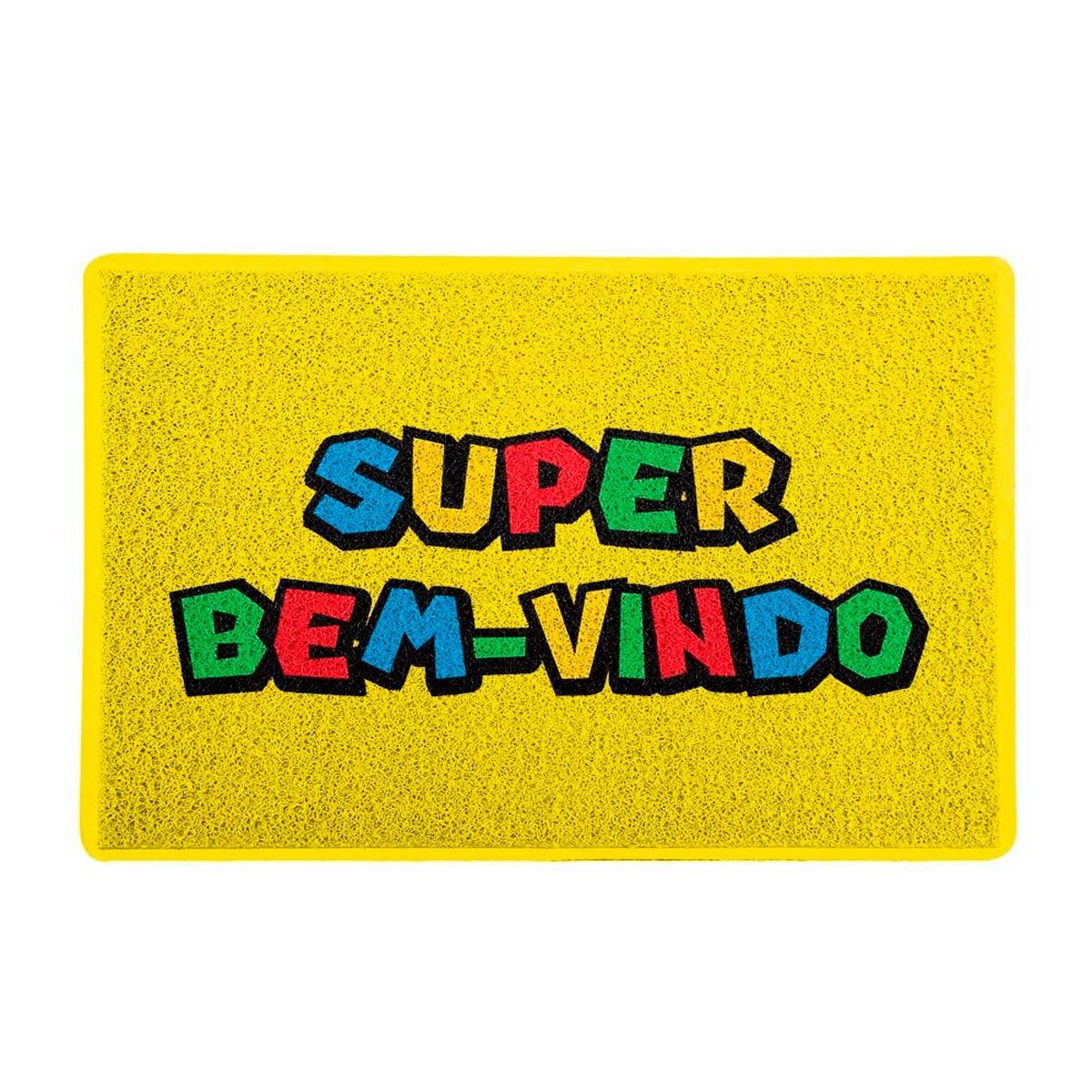 Capacho Decoração Geek 60x40cm Super Bem Vindo Super Mario - Presente Super