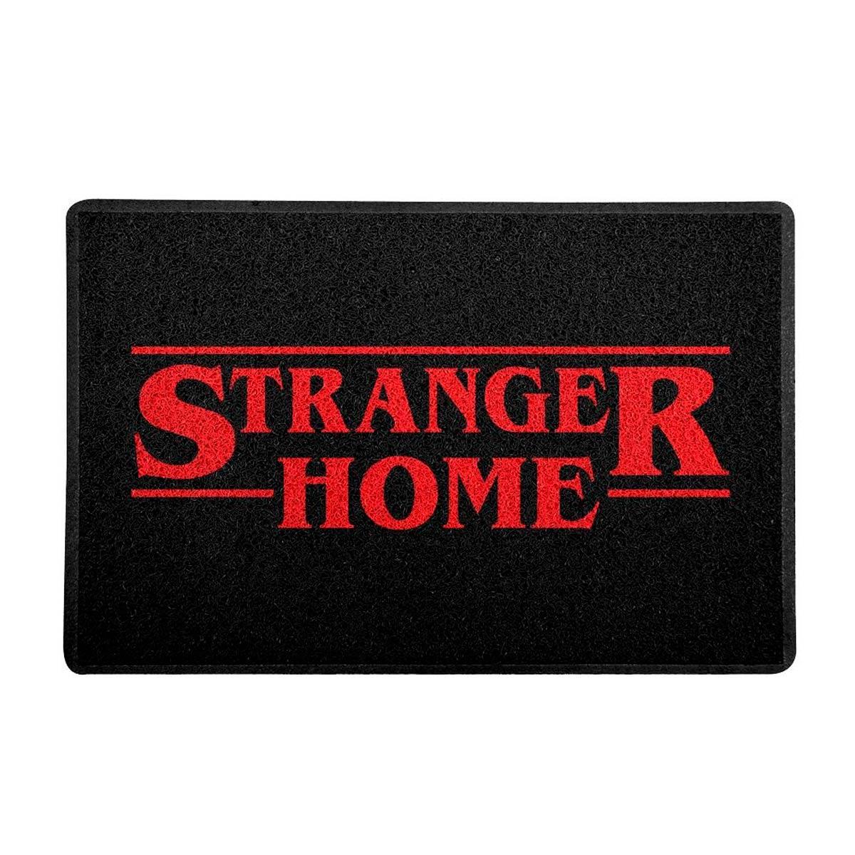 Capacho Decoração Geek 60x40cm Stranger Home Preto - Presente Super