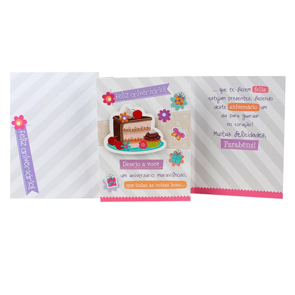 Cartão de Aniversário - Fatia de Bolo