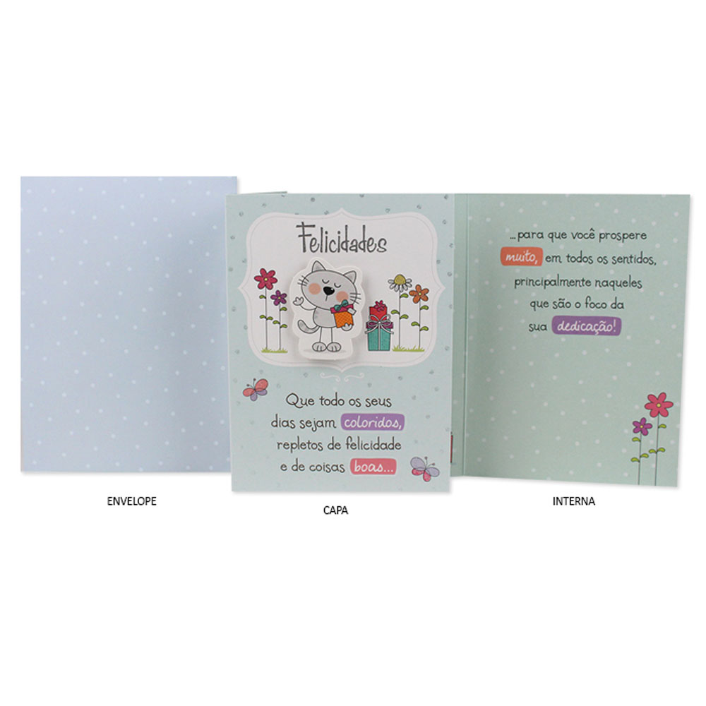 Cartão Ocasiões Especiais - Felicidades - Gato