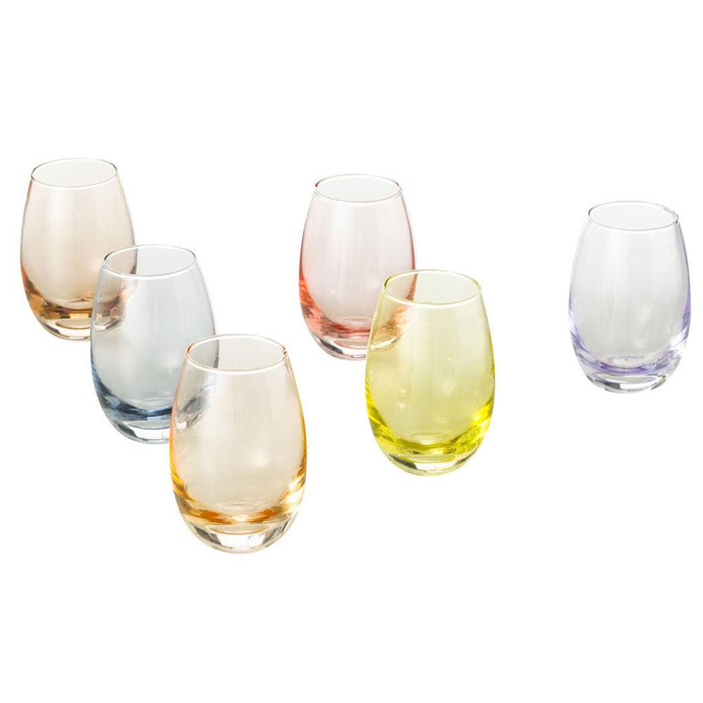 Conjunto de 6 Copos para Licor de Vidro Colorido