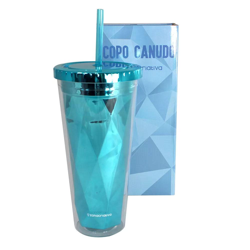 Copo Canudo Diamond Azul 650 ml