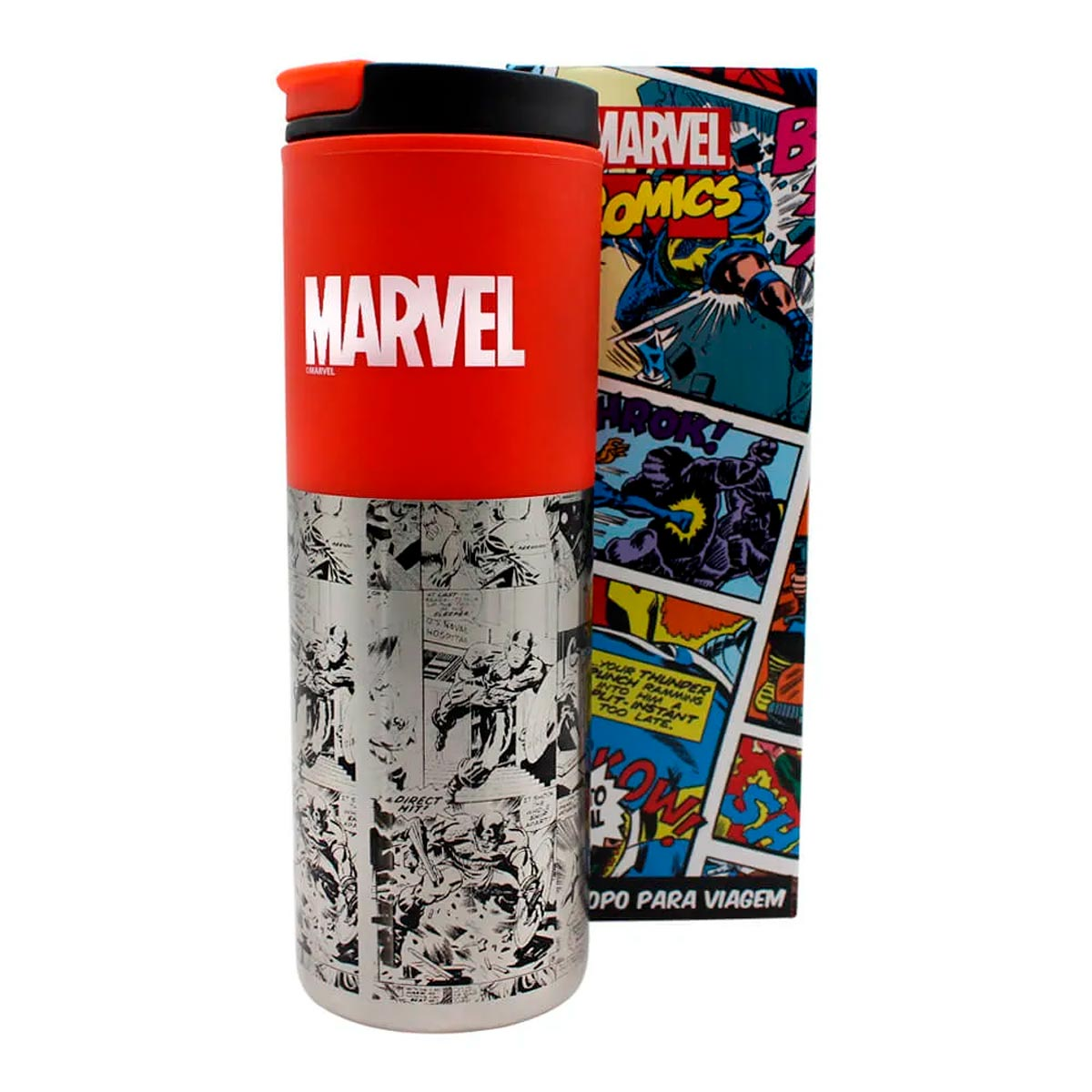 Copo Para Viagem Smart Marvel Classic Quadrinhos 500 ml - Presente Super