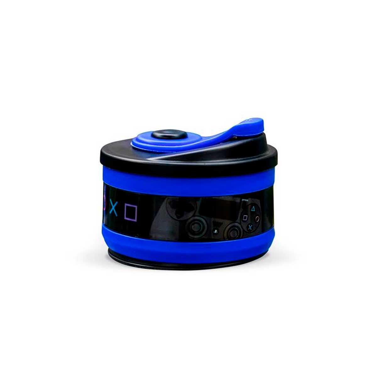 Copo Retrátil Dobrável de Silicone Playstation Azul - Presente Super