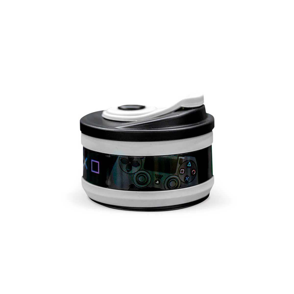 Copo Retrátil Dobrável de Silicone Playstation Cinza - Presente Super
