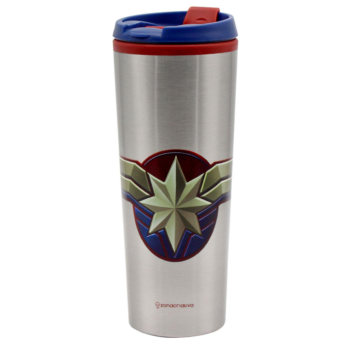 Copo Viagem 450 ml Capitã Marvel - Vingadores - Presente Super