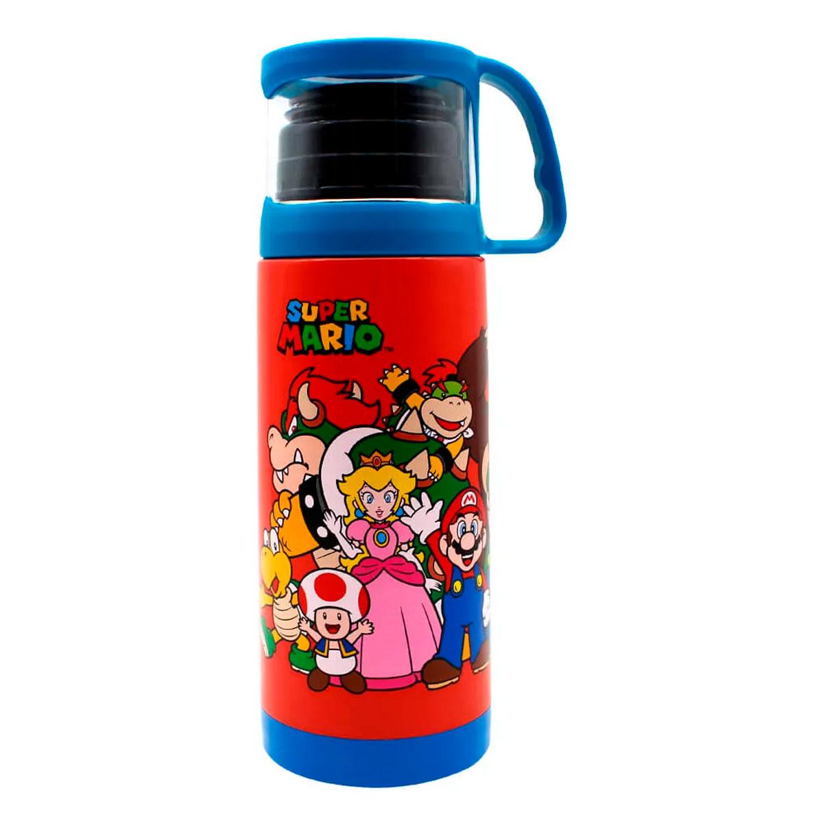 Garrafa Térmica 350 ml com Xícara Super Mario Turma - Presente Super