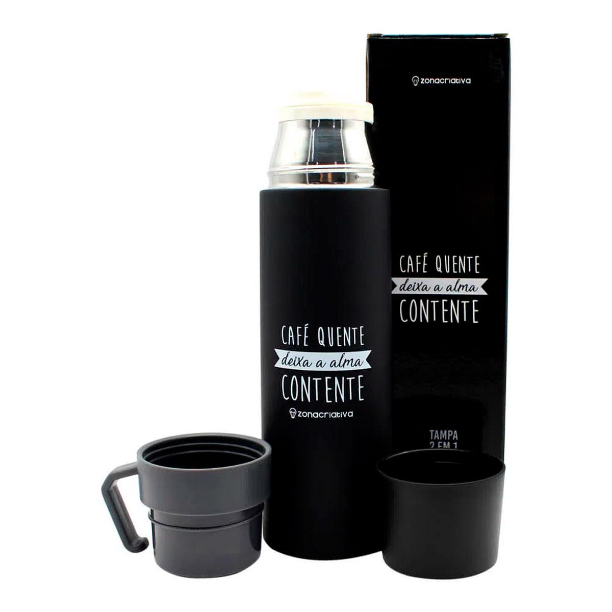 Garrafa Térmica 500 ml com Caneca Café Quente - Presente Super