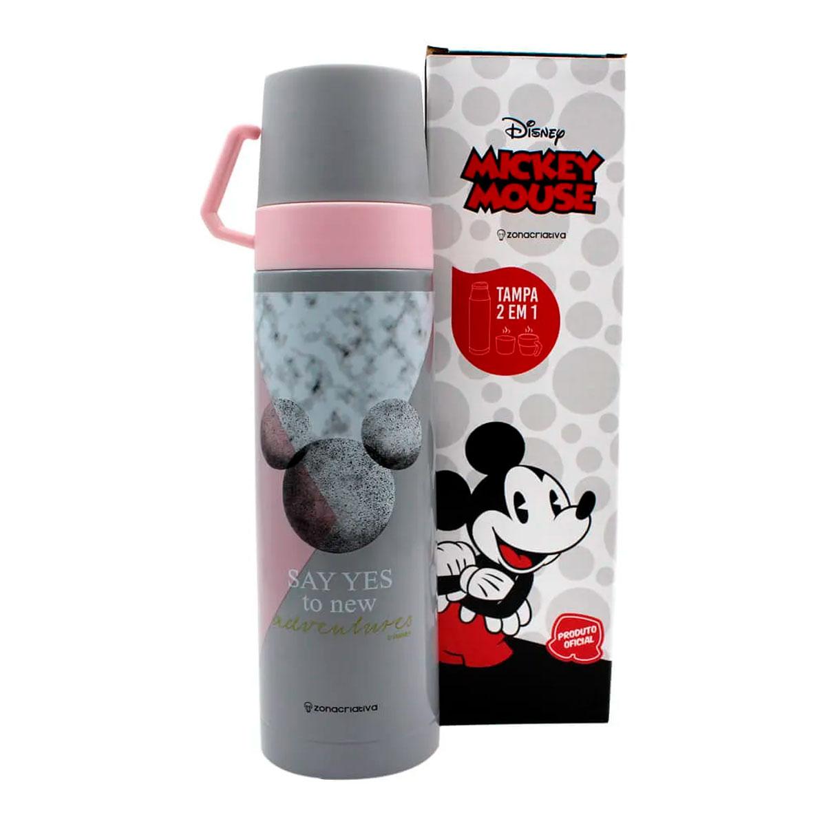 Garrafa Térmica 500 ml com Caneca Mickey Mármore - Presente Super