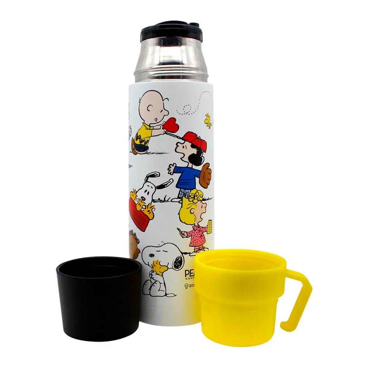 Garrafa Térmica 500 ml com Caneca Turma Snoopy - Presente Super