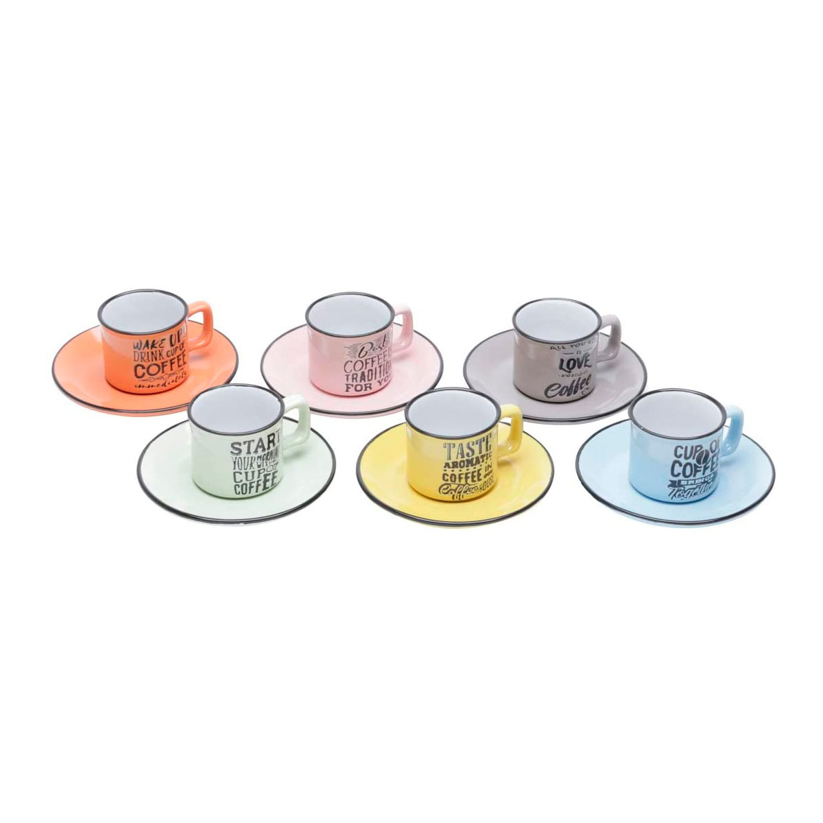 Jogo de Xícaras Café Porcelana com Pires Words Coloridas - Presente Super