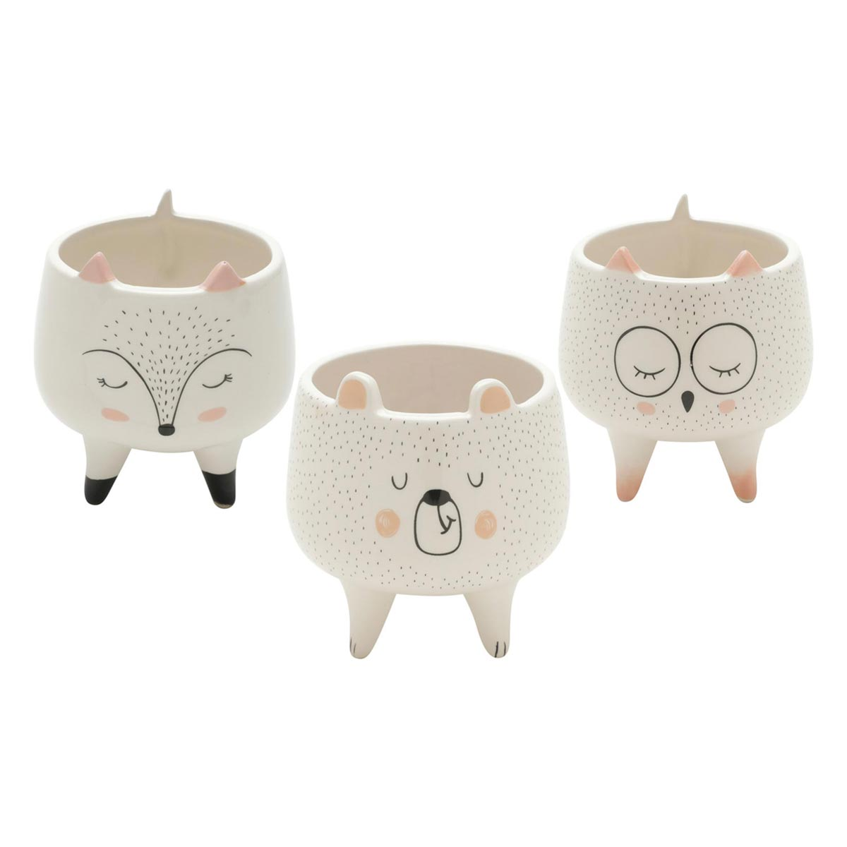 Kit 3 Cachepots Pequeno Vaso Sleeping Bear Fox e Owl - Urso Raposa e Coruja