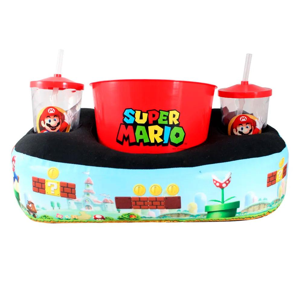 Kit Almofada Porta Pipoca Super Mario Bros