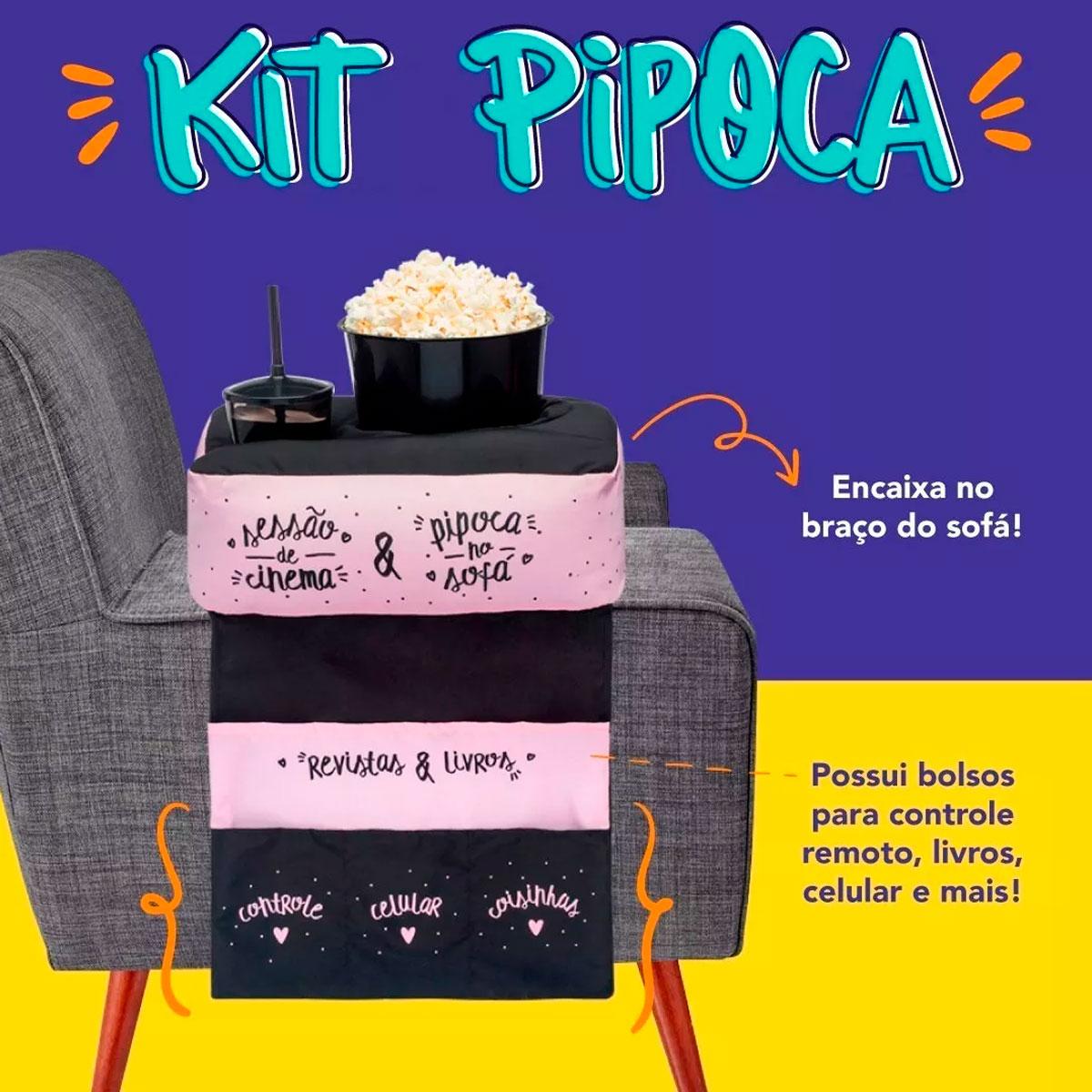 Kit Almofada Porta Pipoca Para Sofá Sessão Cinema