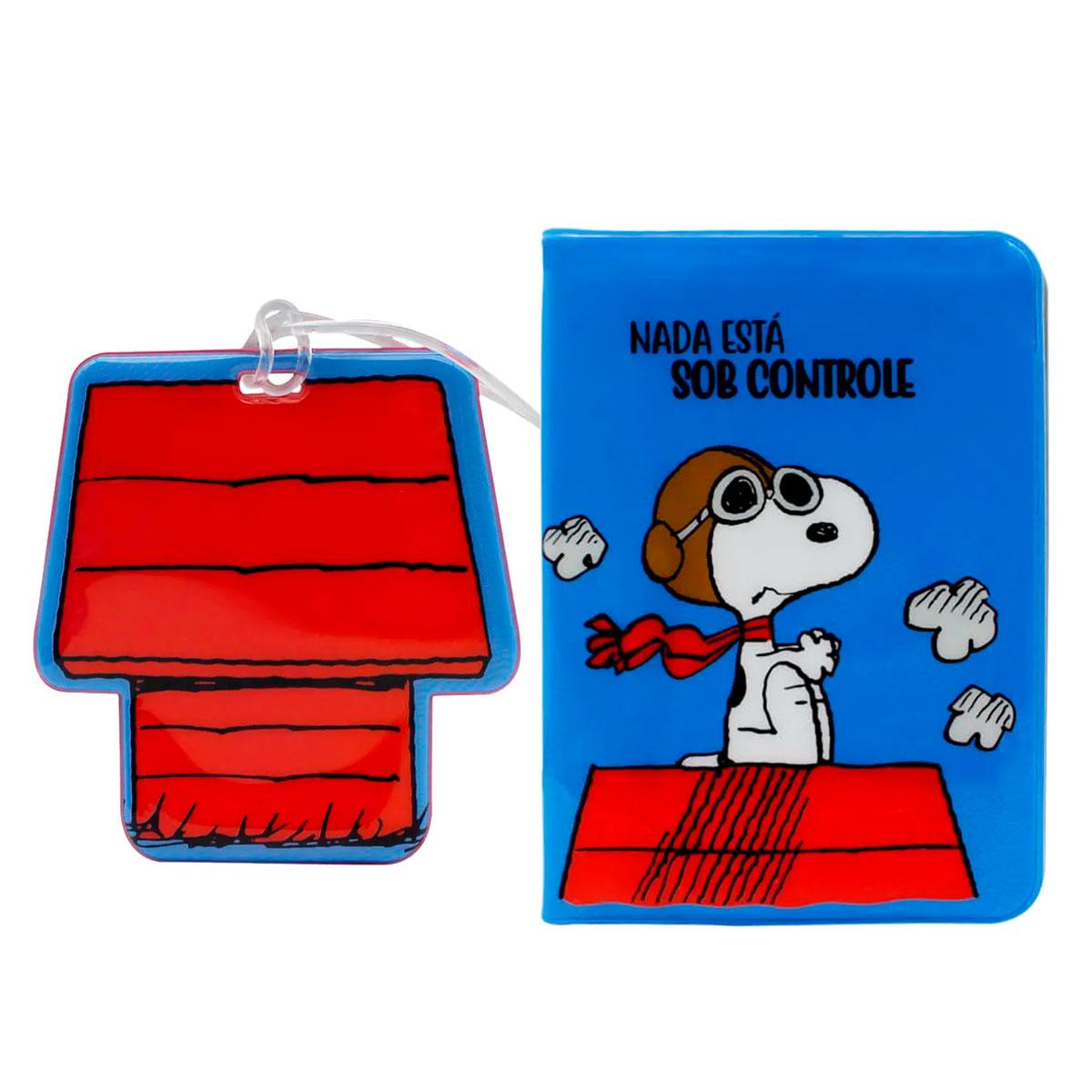 Kit Viagem Porta Passaporte e Tag de Mala Snoopy - Presente Super