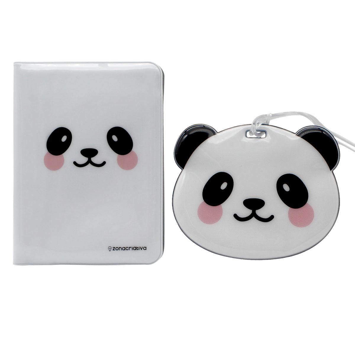 Kit Viagem Porta Passaporte e Tag de Mala Panda - Presente Super