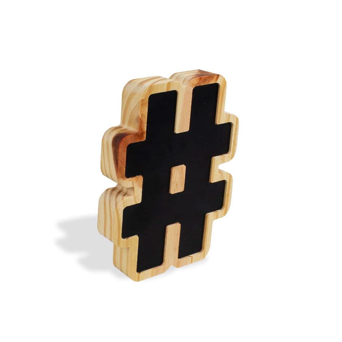 Letra Decorativa Madeira e Metal Hashtag - Presente Super