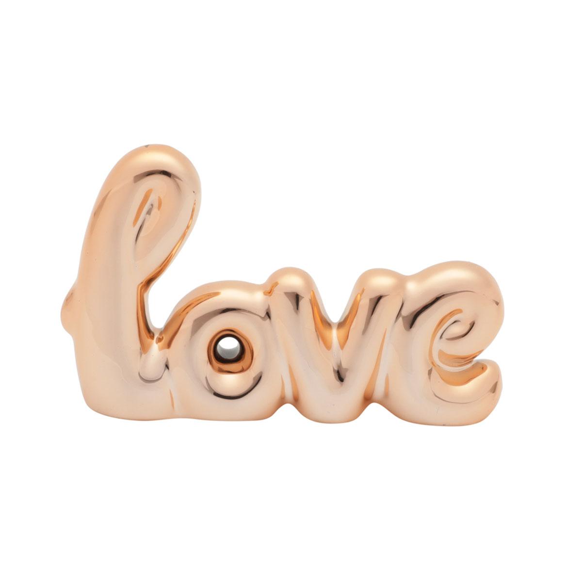 Letras Decorativas em Cerâmica Love Amor Cobre