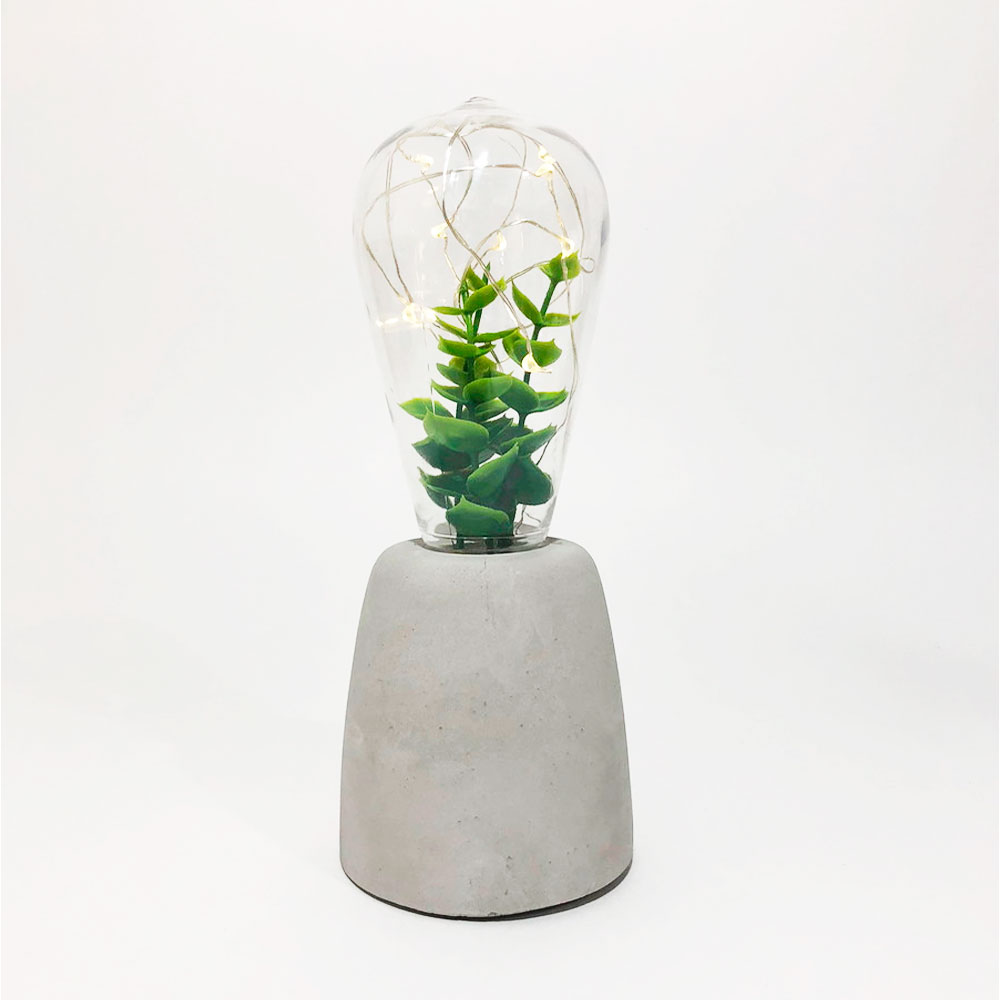 Luminária Led Lâmpada com Planta e Base de Concreto