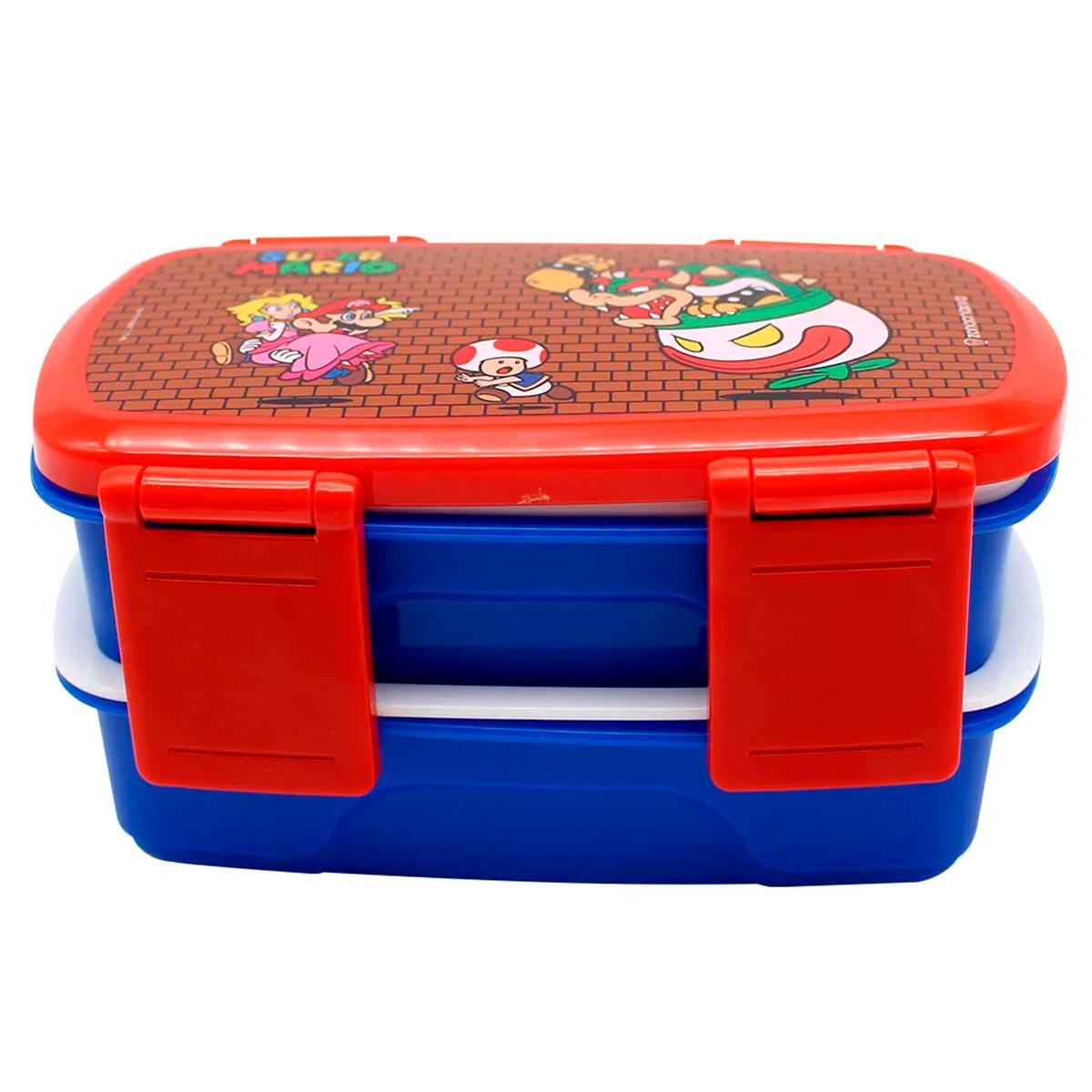 Marmita Lancheira com Talheres Super Mario 750 ml - Presente Super