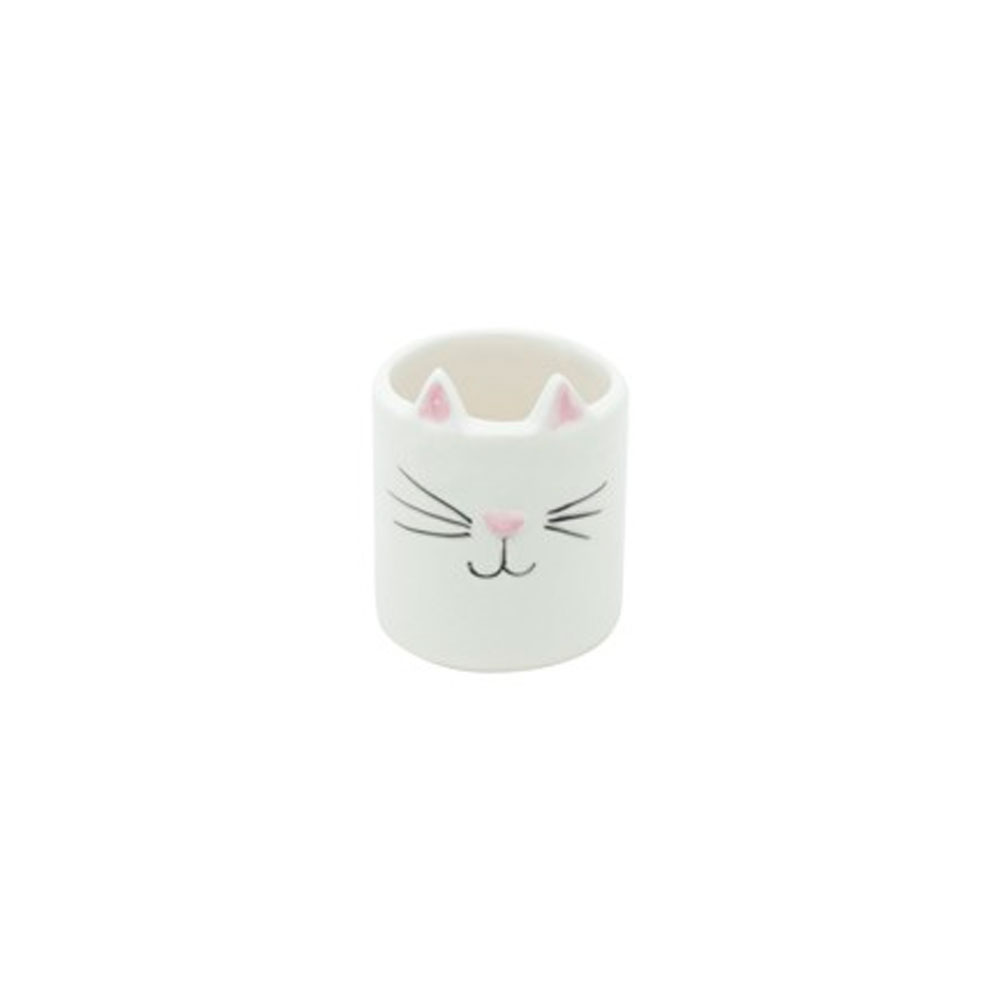 Mini Cachepot Vaso Decor Cat Face Branco Gatinho