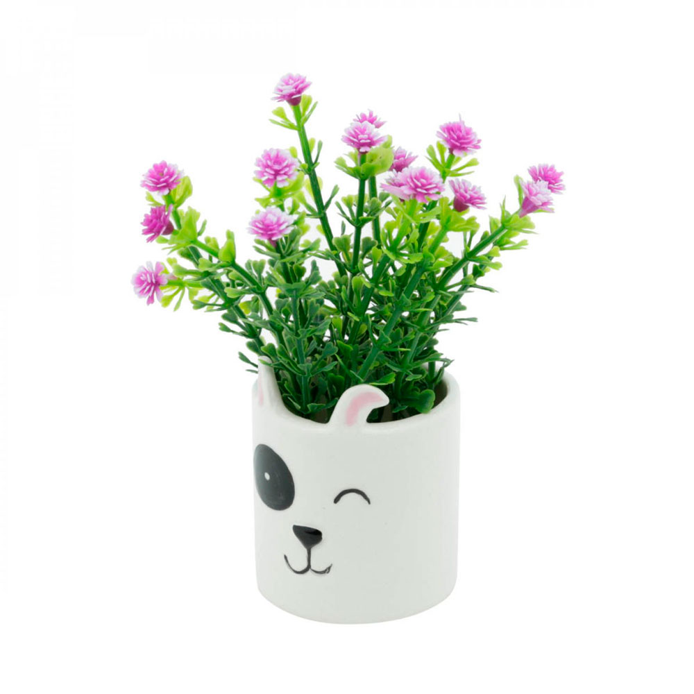 Mini Cachepot Vaso Decor Dog Face Branco Cachorrinho