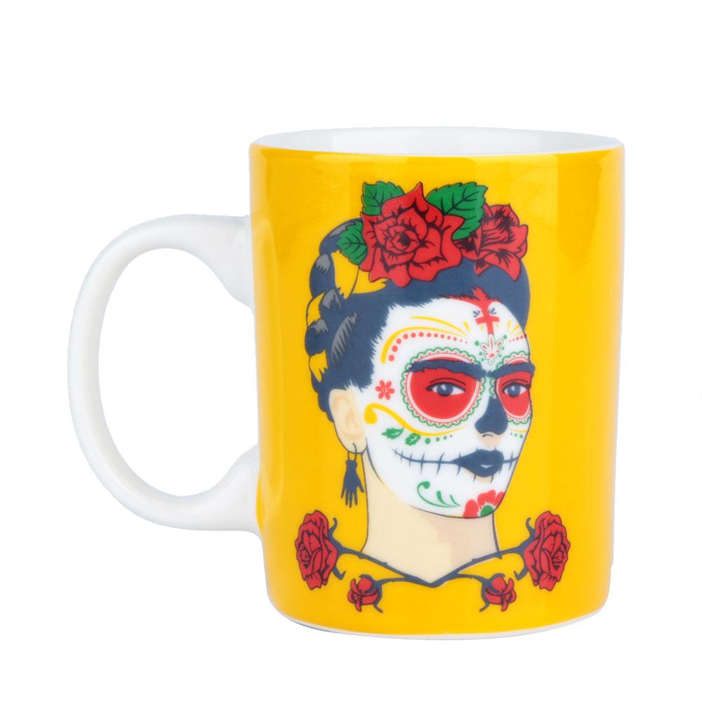 Mini Caneca Frida Kahlo Face Amarelo - 135 ml