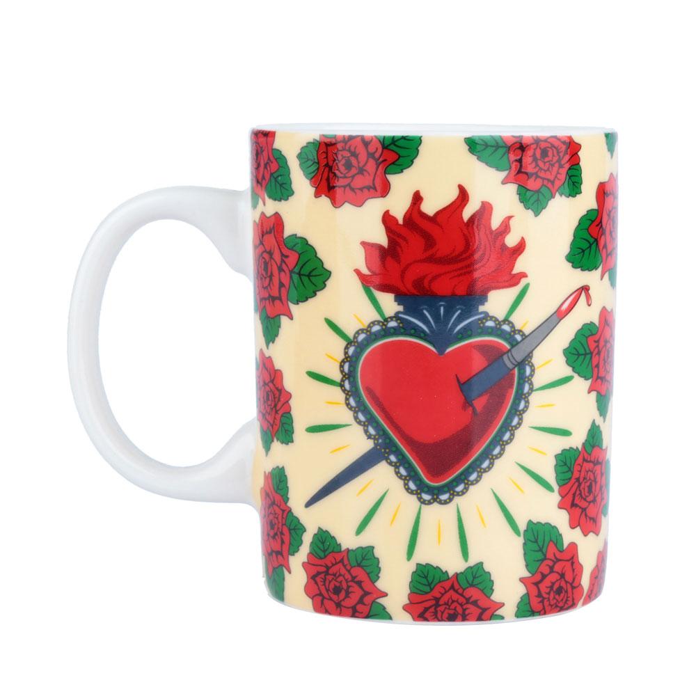 Mini Caneca Frida Kahlo Coração e Flores - 135 ml