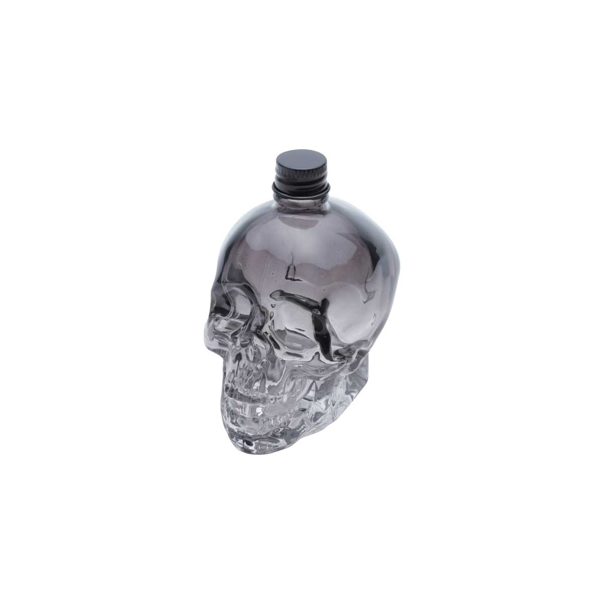 Mini Garrafa Vidro Crânio Caveira Preta 120 ml