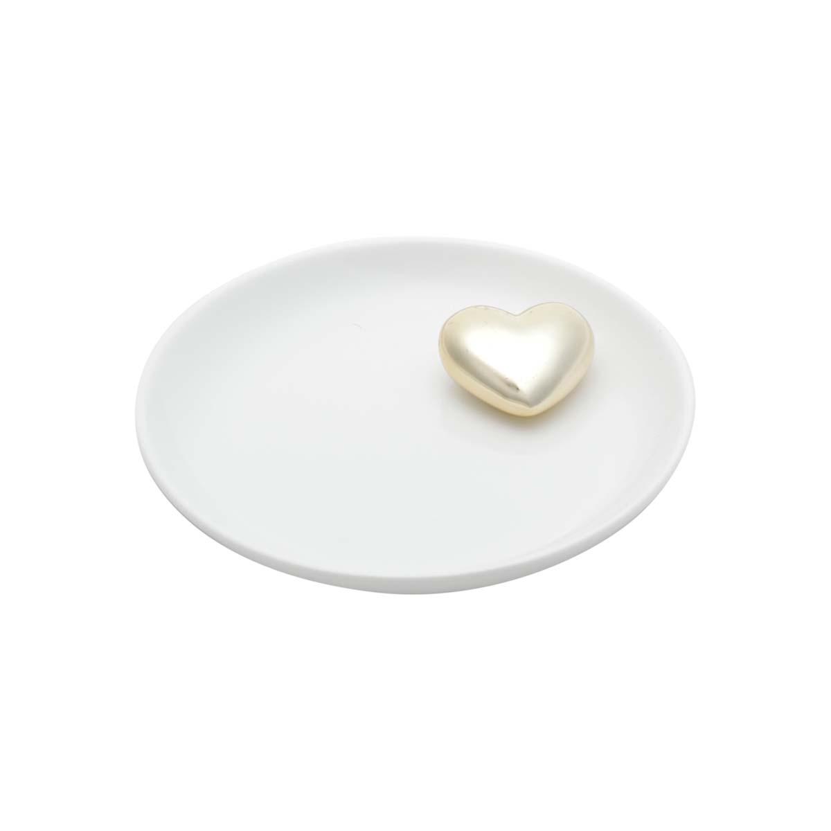 Mini Prato Decorativo Porta Anéis e Acessórios Coração Dourado