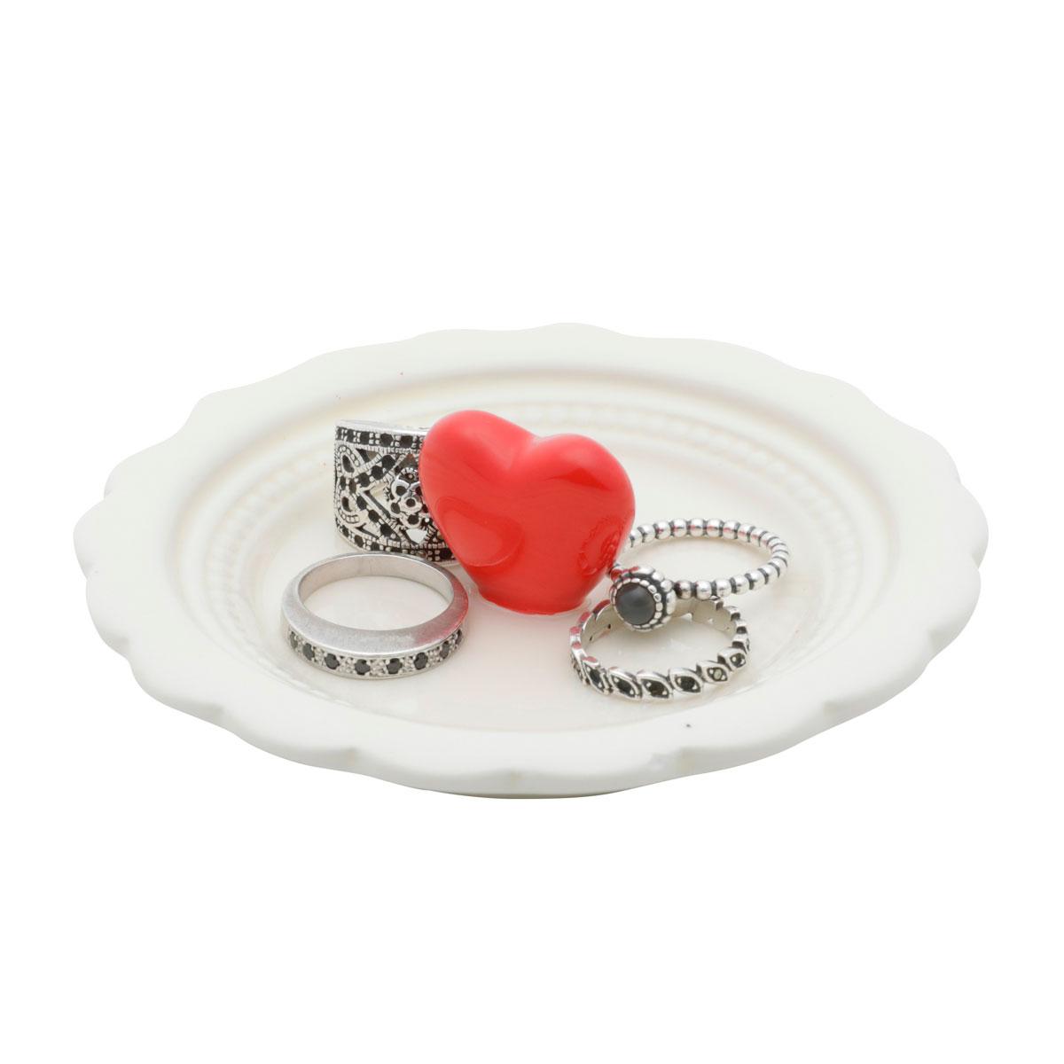Mini Prato Decorativo Porta Anéis e Acessórios Coração Vermelho - Presente Super