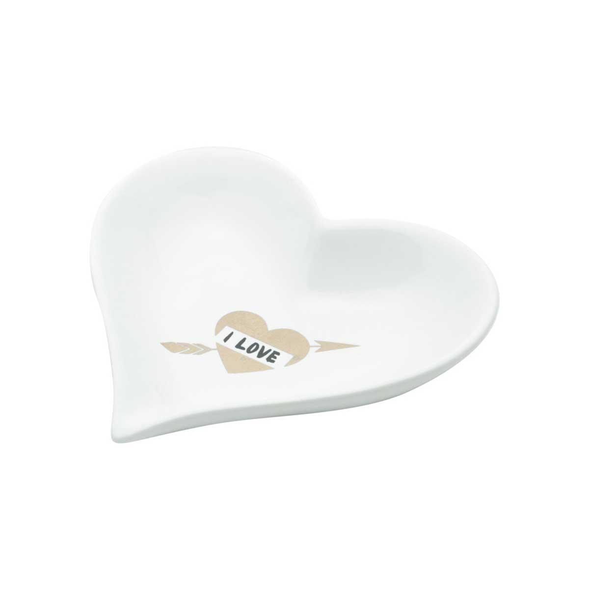 Mini Prato Decorativo Porta Anéis e Acessórios Heart Love