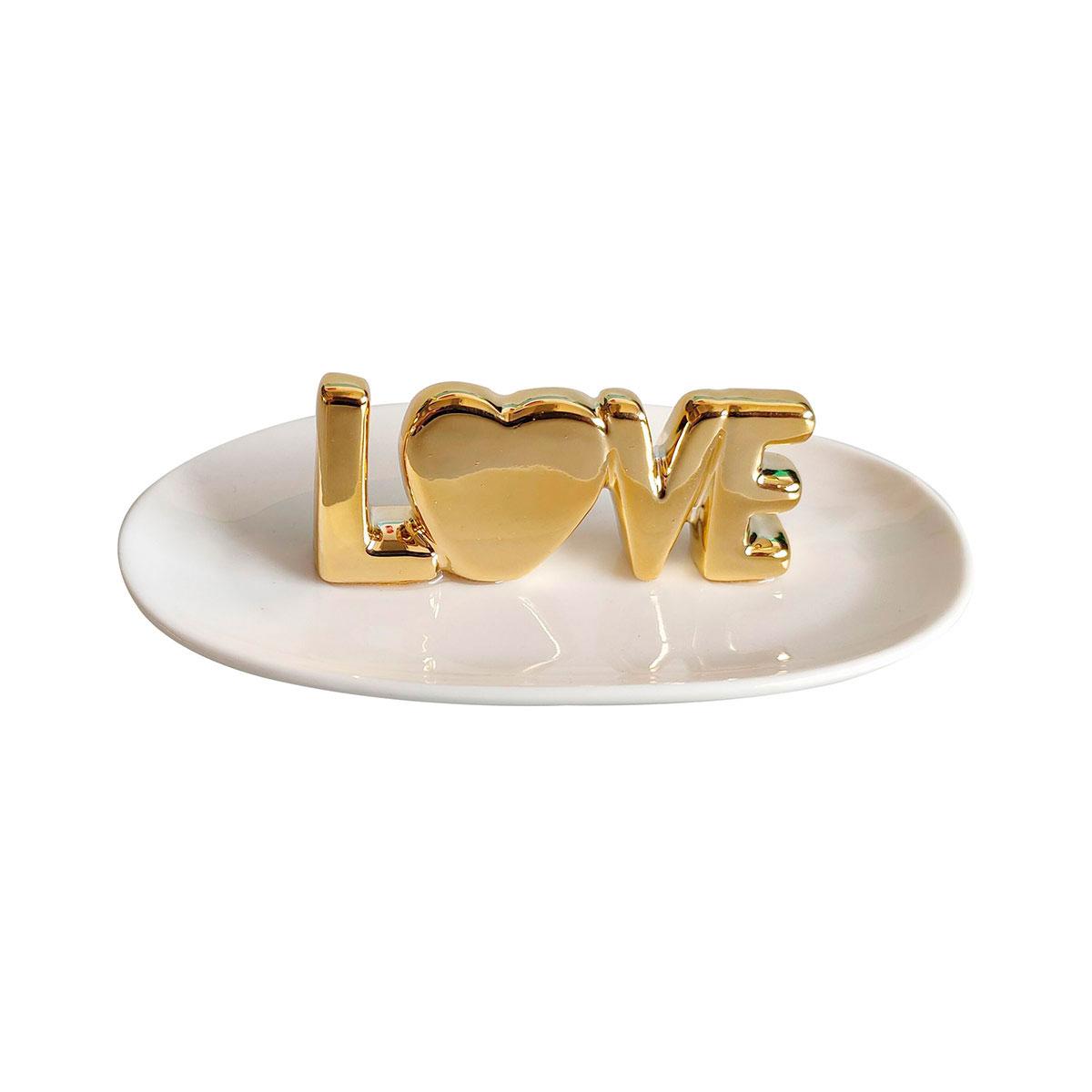 Porta Anéis e Acessórios Cerâmica Love Dourado - Presente Super