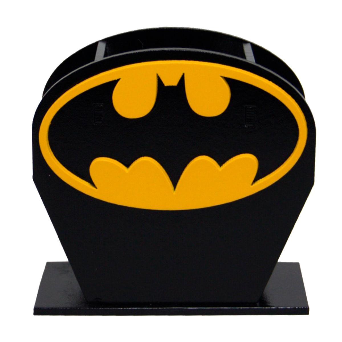 Porta Lápis Caneta E Acessórios Geek Batman Logo Amarelo 10x10cm - Presente Super